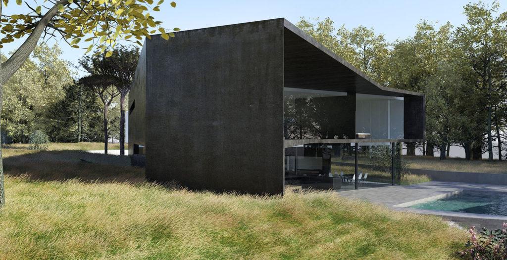 Maison beton noire piscine - Architecte français de maison
