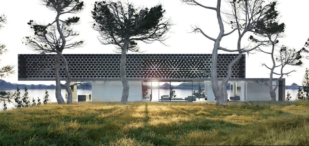 Maison contemporaine avec long moucharabieh avec un architecte lyon